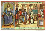 Charlemagne, King of the Franks, visiting a school, 800