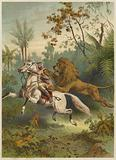 African traveller attacked by a lion