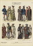 English and French costumes, 15th Century