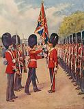 The Grenadier Guards saluting the Colour before going on guard for the day