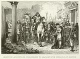 Romulus Augustulus surrenders to Odoacer the Insignia of Empire