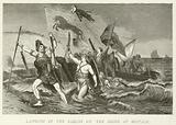 Landing of the Saxons on the shore of Britain