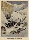 An avalanche at the Great St Bernard Pass, Switzerland, 1897