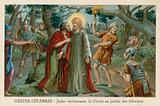 Judas kissing Christ in the Garden of Gethsemane