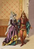European noblewoman and minstrel, 15th Century