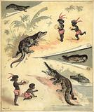 African children playing with crocodiles