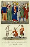 A king and the officers of his court, 14th Century