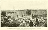 The Matabele War, view of Buluwayo, showing the stockade of Lobengula's kraal in the distance