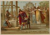 Dagobert I, King of the Franks, beginning the construction of the Basilica of St Denis, France