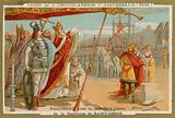 Dagobert I laying the first stone of the Basilica of St Denis, France, 7th Century