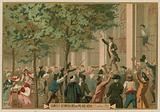 Camille Desmoulins issues his call to arms outside the Palais Royal, Paris, French Revolution, 12 July 1789