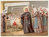 St Vincent de Paul leading the Daughters of Charity to help at a hospital