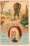 Daniel Defoe, English novelist, and a scene from Robinson Crusoe