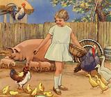 Girl feeding farmyard animals