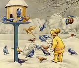 Child feeding birds in winter