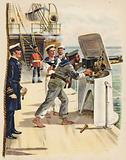 Gun drill during the naval manoeuvres, 1891