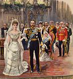 The marriage of the Duke of Cornwall and York to Princess Mary, Chapel Royal, St James' Palace, London, 6 July 1893