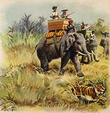 The Prince of Wales tiger hunting in India