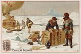Unloading cases of Suchard chocolate from a balloon in the Arctic