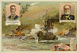 Admirals William Sampson and Pascual Cervera, and the Battle of Santiago de Cuba, Spanish-American War, 3 July 1898