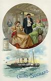 Enjoying Suchard cocoa on board a ship