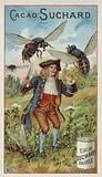 Gulliver attacked by giant wasps in Brobdingnag