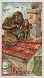 Gulliver carried onto the rooftop by a monkey