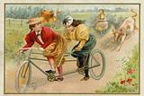 Women riding a tandem