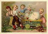 Children pulling an enormous easter egg