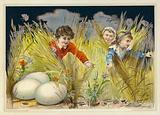 Children looking for enormous Easter eggs