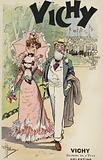 Old man and young girl walking, advertisement for Vichy