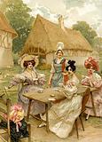 Beautiful rich women taking tea at a farm.