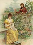 Young woman, approached by suitor with flower over wall