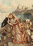 Venetian wife receiving a kiss from her lover while her aged husband sleeps
