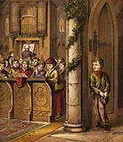 Singing carols in Church, with poor boy standing by door