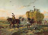 Farmers returning from the fields with Hay Wagon