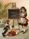 Girl, educating dog and doll
