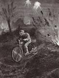 Lance-Corporal C C Parrott carrying messages on his motor-bicycle along roads swept by shellfire, World War I