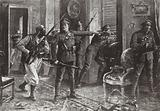 Sergeant Edward Clarke directing the defence of Chateau Herentage during the First Battle of Ypres, November 1914