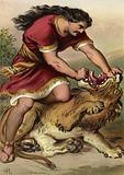 Samson slaying the lion