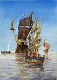 Sir Francis Drake taking a Spanish treasure ship on the Spanish Main