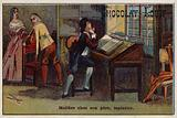 Moliere, French playwright, in the house of his father, an upholsterer
