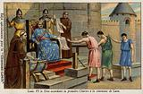 King Louis VI of France granting the first charter to the town of Laon, 1128