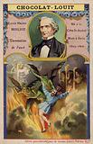 Hector Berlioz, French composer, and a scene from his La Damnation de Faust