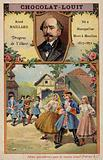 Louis-Aime Maillart, French composer, and a scene from his opera Dragons de Villars