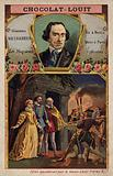 Giacomo Meyerbeer, German composer, and a scene from his opera Les Huguenots