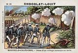 French soldiers taking a Kanak village, New Caledonia, 1878
