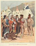 Trappers trading with Native Americans, New France