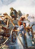 Beside them stood the women quietly loading guns