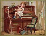 Child playing on a piano